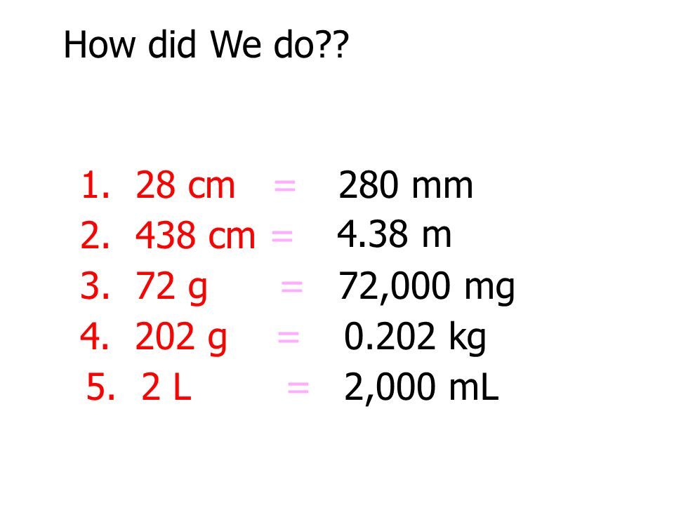 How did We do cm = 280 mm cm = 4.38 m g = 72,000 mg g =