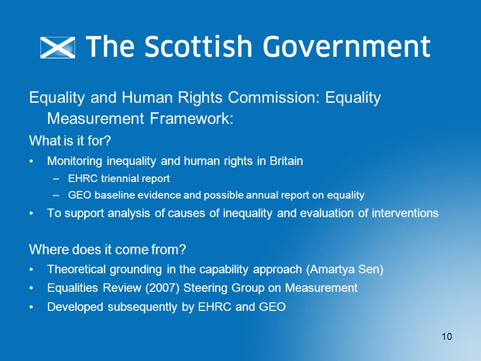 Equality and Human Rights Commission: Equality Measurement Framework: