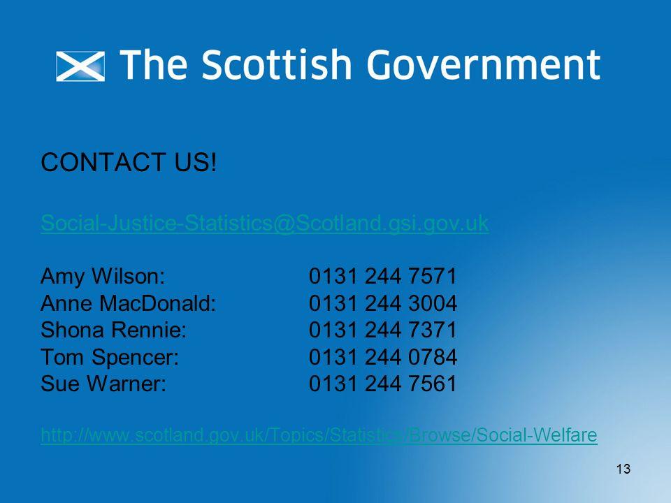 CONTACT US! Social-Justice-Statistics@Scotland.gsi.gov.uk