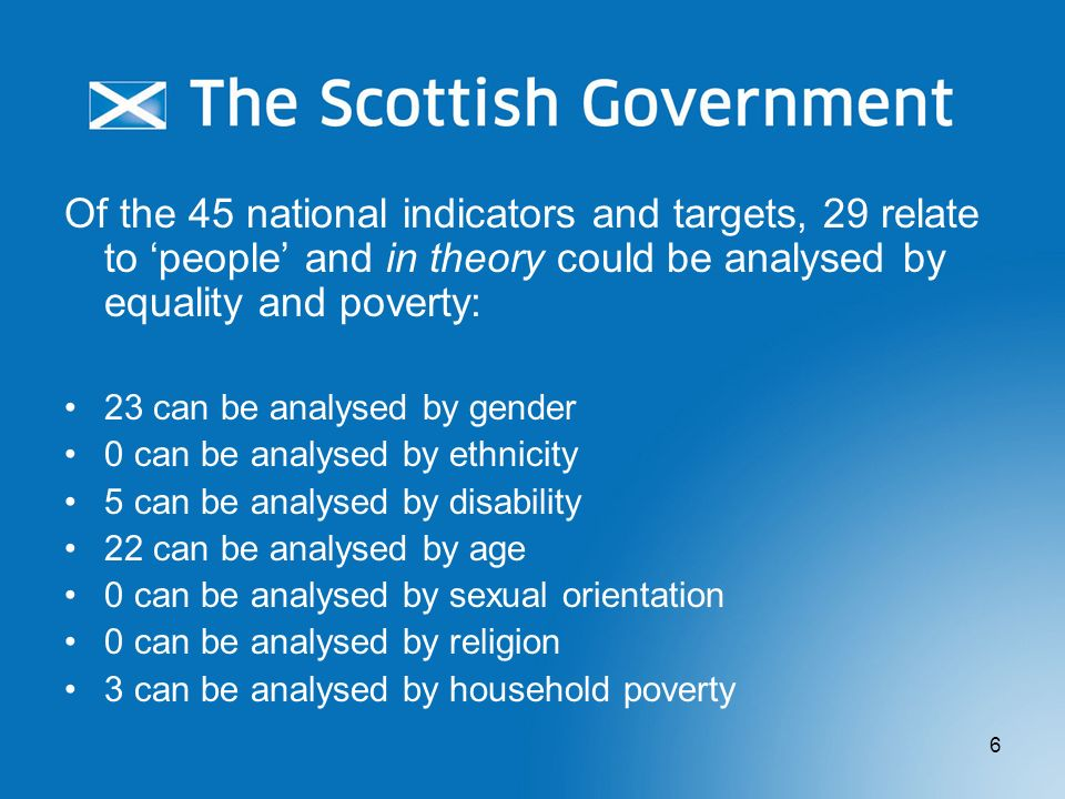 Of the 45 national indicators and targets, 29 relate to 'people' and in theory could be analysed by equality and poverty: