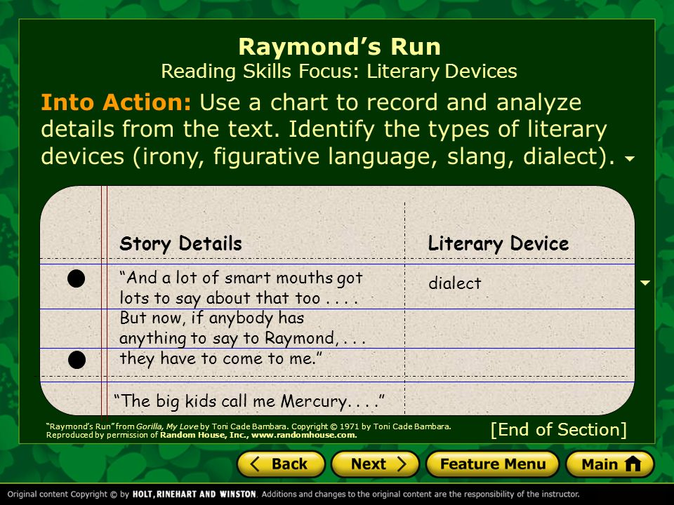 the use of figurative language in the short story raymonds run by toni cade bambara Toni cade bambara (1939-1995), who initially gained recognition as a short story writer, has branched out into other genres and media in the course of her career, yet she continues to focus on issues of racial awareness and feminism in her work.