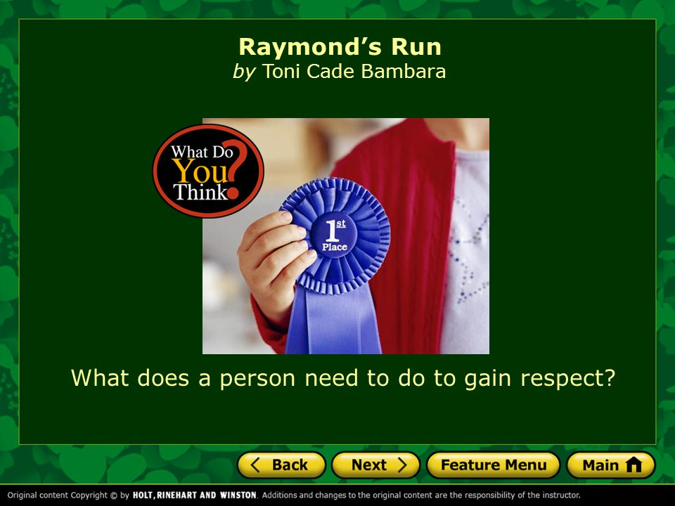 "raymonds run essay Essay writing techniques raymond's run raymond's run is a dramatic story written by toni cade bambara featuring a little black american girl, hazel ""squeaky"" parker, with a squeaky voice."