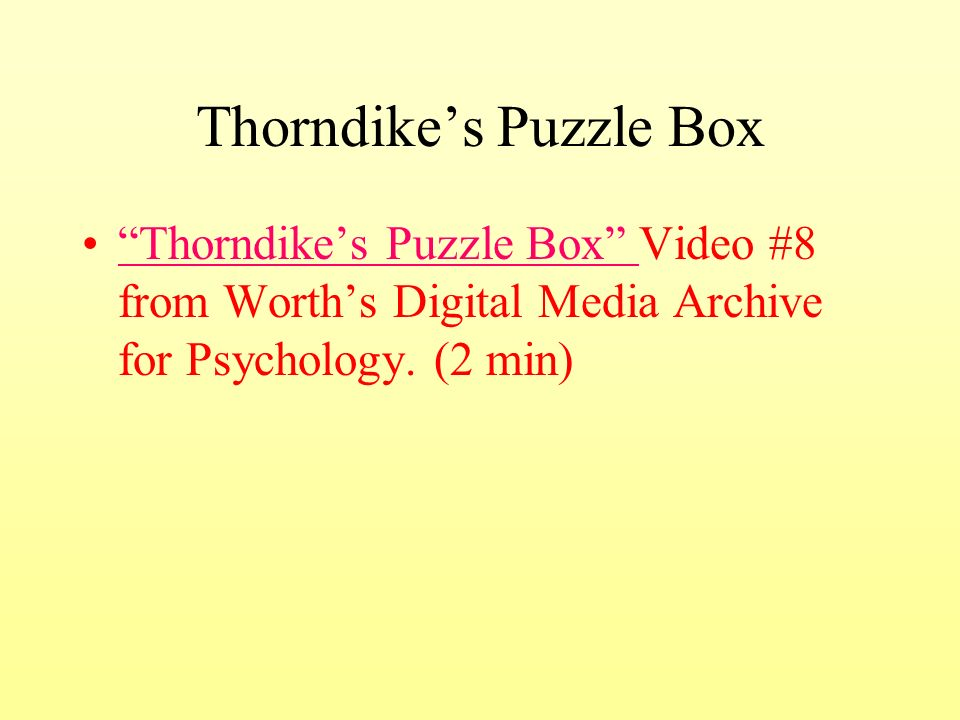 Thorndike S Cats Psychology