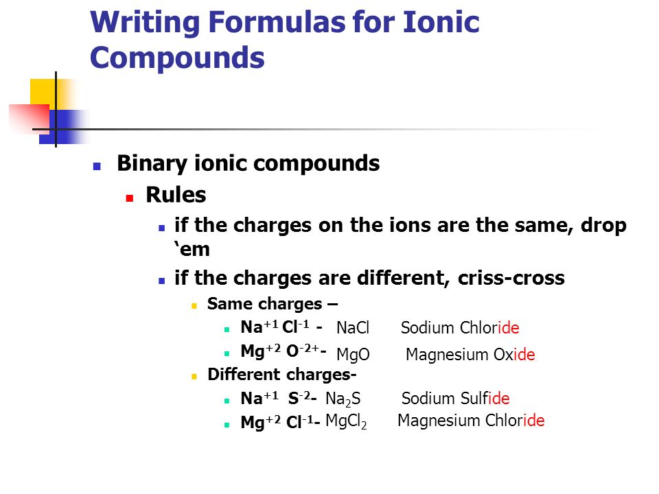 writing formulas for ionic compounds Formulas for ionic compounds contain the symbols and number of each atom present in a compound in the lowest whole number ratio.
