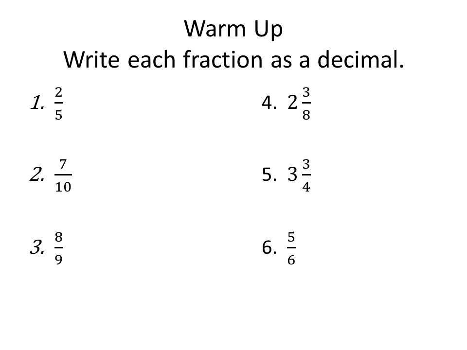 how to write each fraction as a decimal