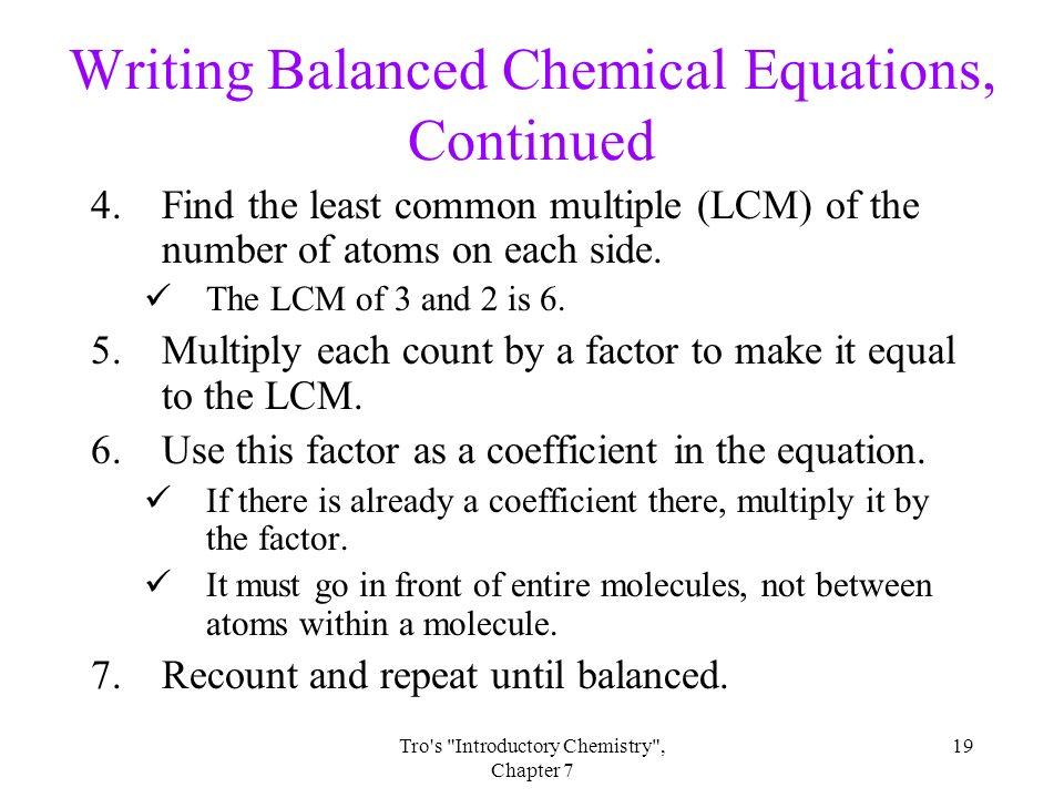 in writing a balanced equation what must be conserved Word equations and balancing equations • write and balance equations originally to make a balanced equation you must add the.