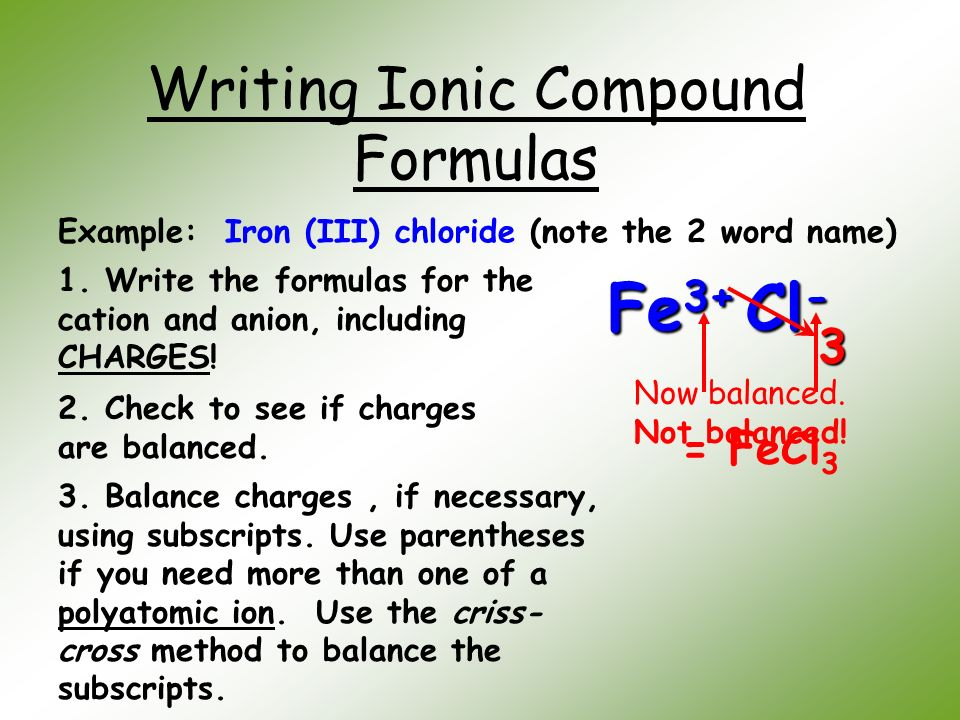 example writing formulas criss cross method Writing formulas crisscross method) name write the formulas of the compounds fe+3 al+3 c 0+3 fe+2 fair inn title: microsoft word - polyatomic criss cross.