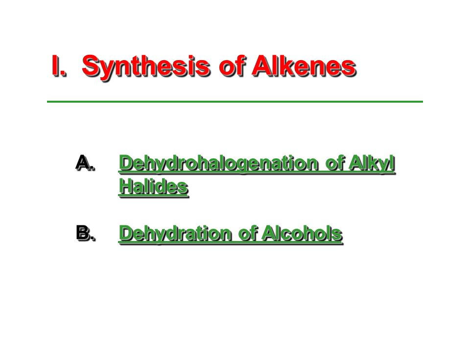 the synthesis of alkenes the dehydration Chemistry organic chemistry alkenes dehydration reaction of water molecule is an example of dehydration synthesis whereas conversion of alcohol to alkene.