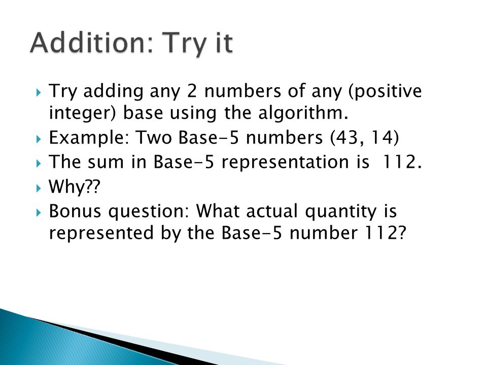how to add two numbers with base 5