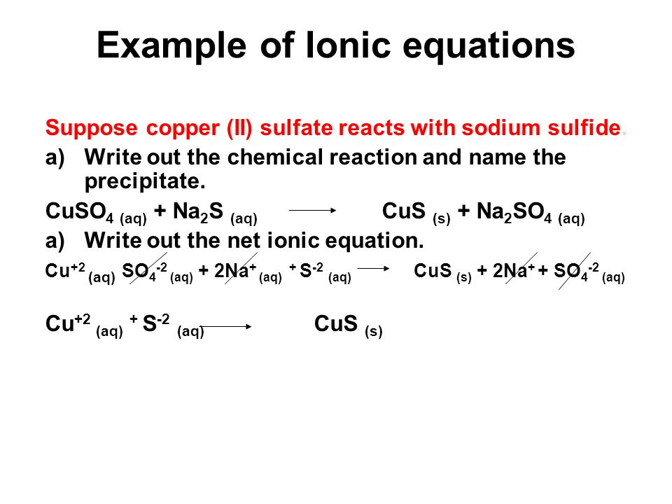 Example of Ionic equations