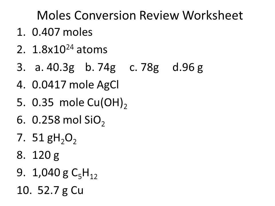 Moles are a Chemist Best Friend Chapter ppt download – Mole Conversions Worksheet