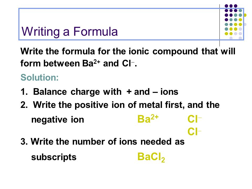 writing an ionic formula given the ions