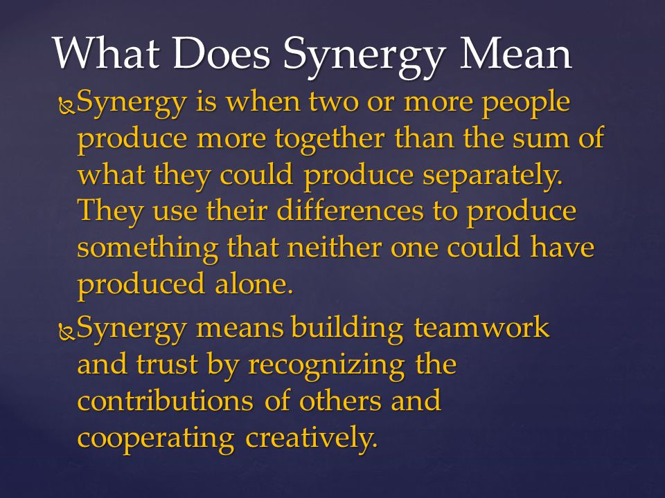 What Does Synergistic Mean In Anatomy