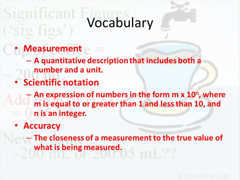 Vocabulary Measurement Scientific notation Accuracy