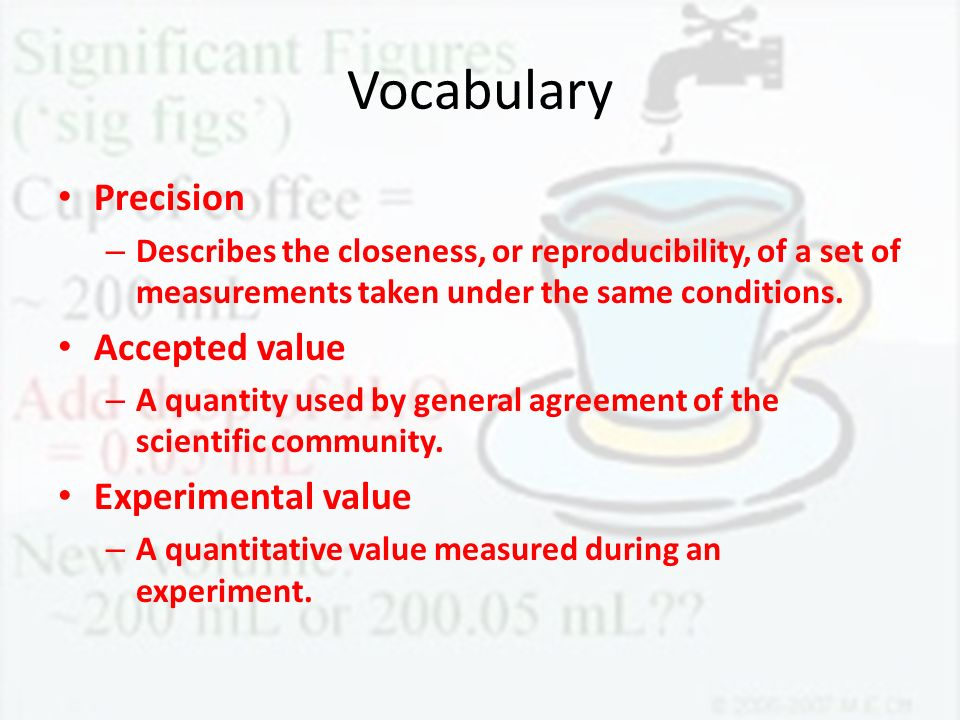 Vocabulary Precision Accepted value Experimental value
