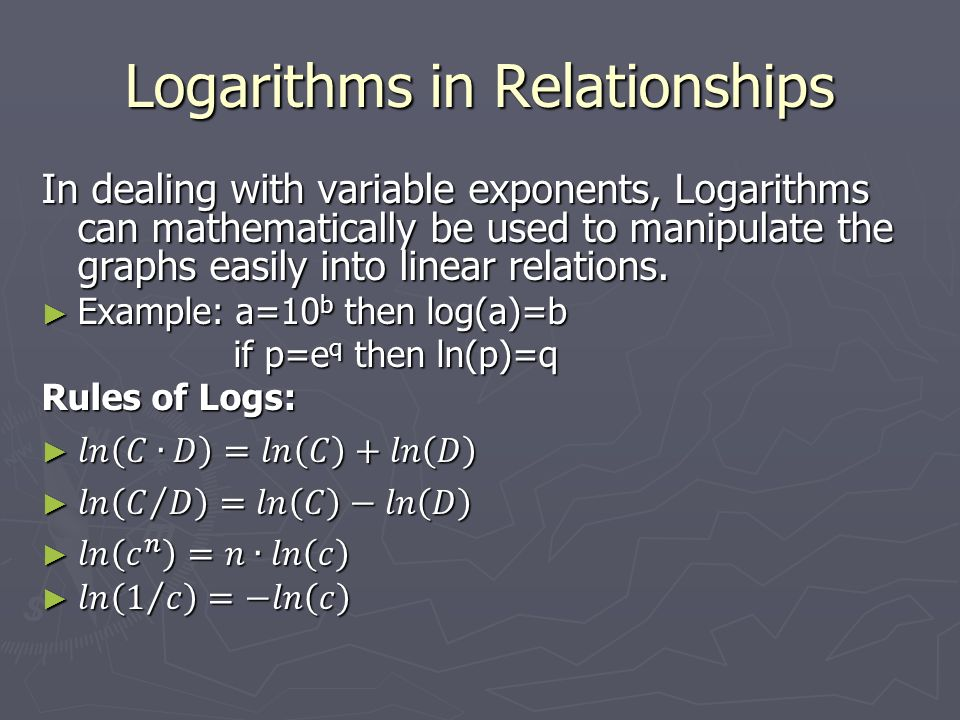 inverse relationship between exponents and logs