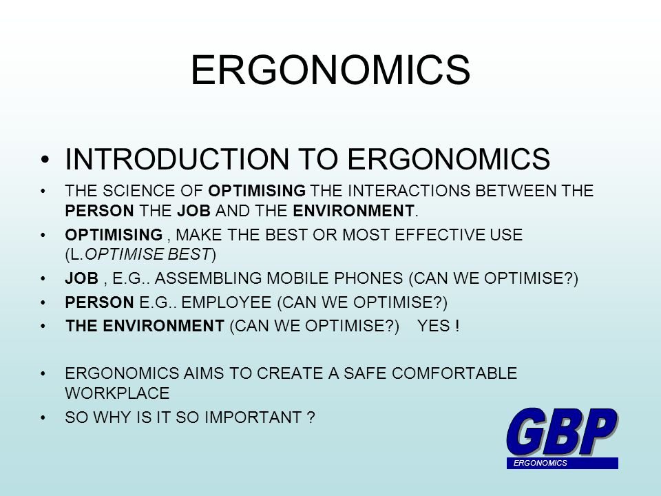 an introduction to ergonomics