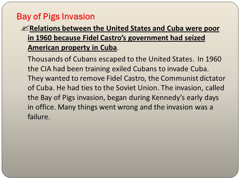 account of the failures of the bay of pigs On april 17, 1961, 1,511 cuban exiles in the us-backed brigade 2506 landed on cuba's shores at the bahía de cochinos--the bay of pigs.