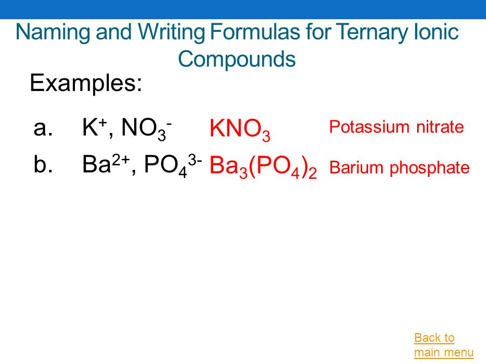 Naming and Writing Formulas for Ionic Compounds Using IUPAC Rules
