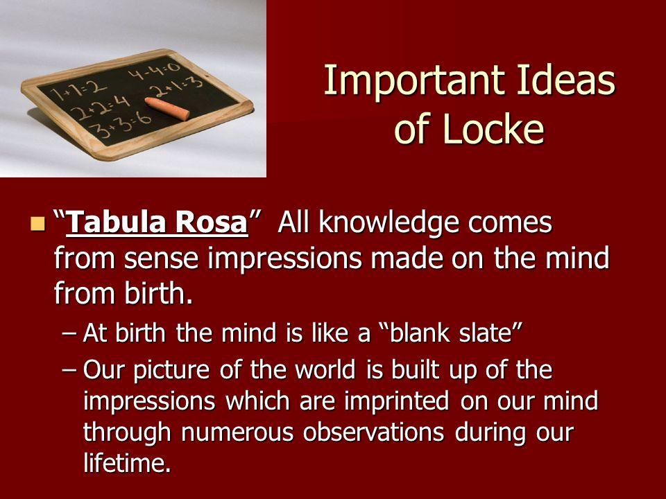 Important Ideas of Locke