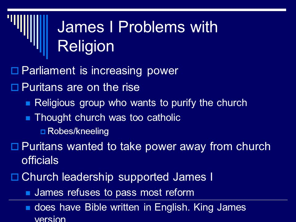 James I Problems with Religion