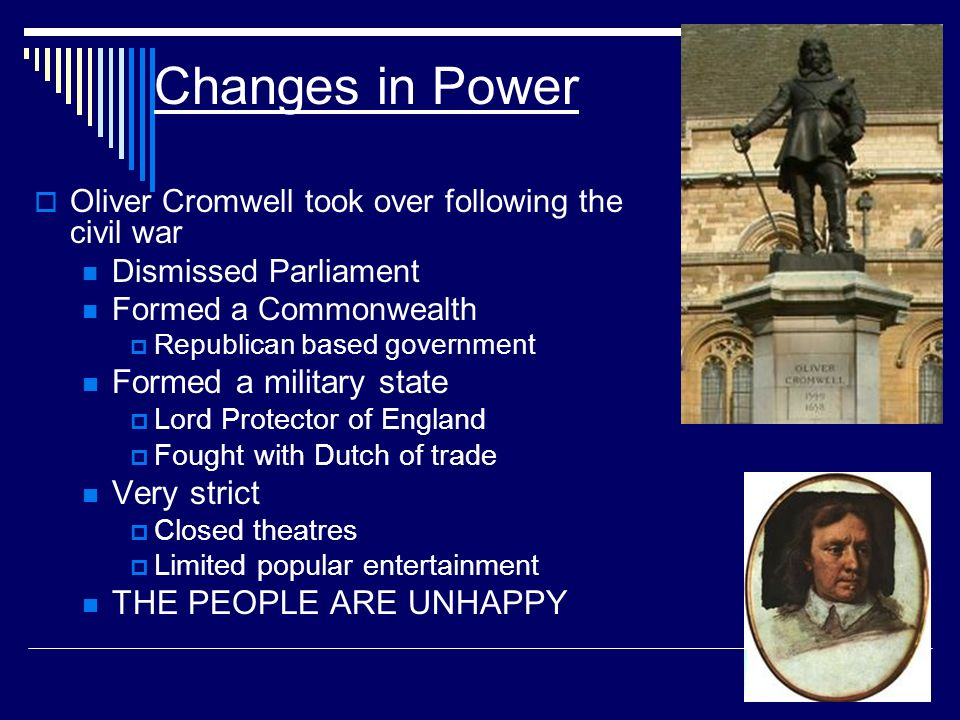 Changes in Power Formed a military state Very strict