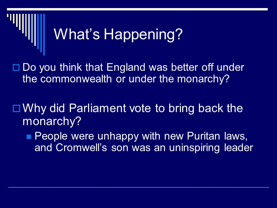 What's Happening Why did Parliament vote to bring back the monarchy