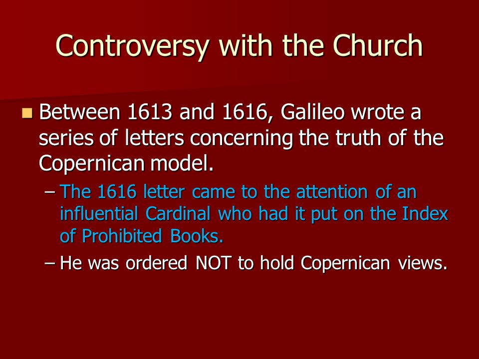 Controversy with the Church