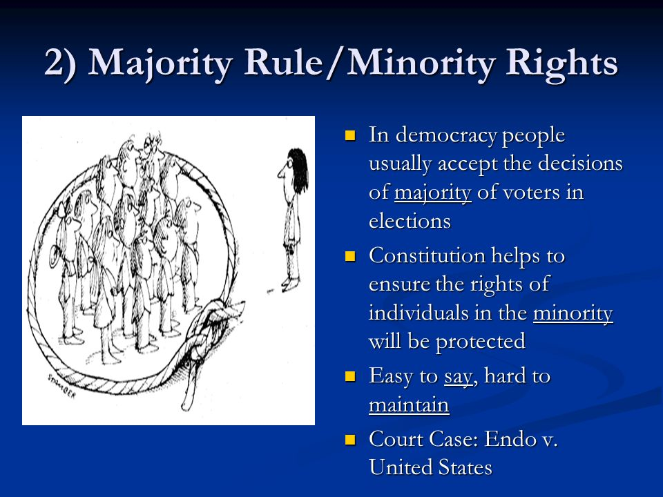 an overview of the majority rules verdict A disadvantage of majority rule is the majority's ability to vote against the interests and preferences of those in the minority without those groups or individuals being heard or involved in the discussion.