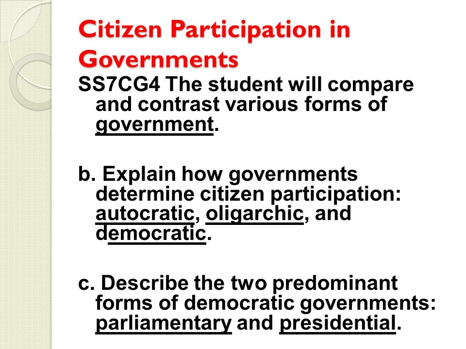 The importance of citizen's participation