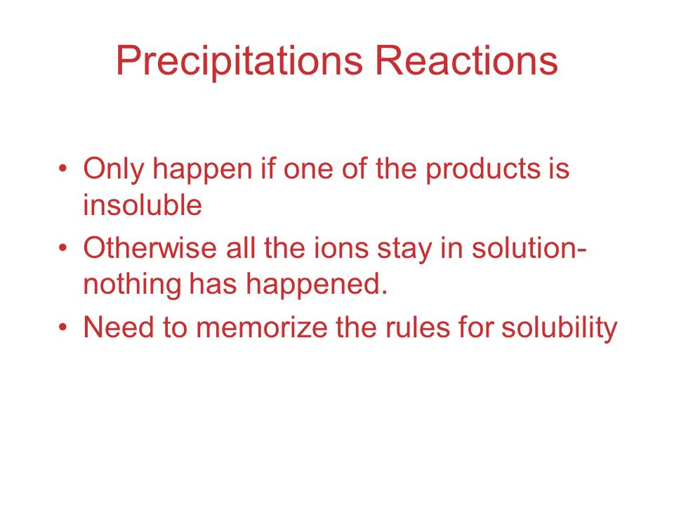 Precipitations Reactions
