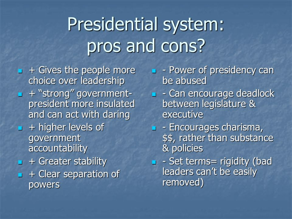 the pros and cons of proportional representation system Party-list proportional representation systems are a family of voting systems emphasizing proportional representation (pr) in elections in which multiple candidates are elected (eg, elections to parliament) through allocations to an electoral list.