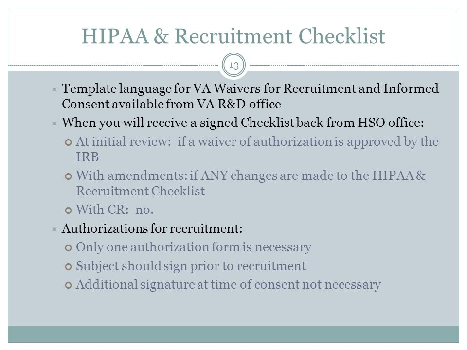Human subjects forms procedures update ppt video online download hipaa recruitment checklist pronofoot35fo Images