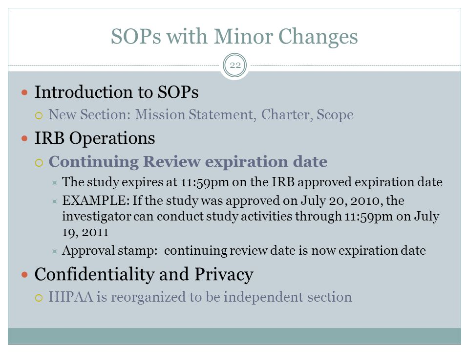 Human subjects forms procedures update ppt video online download sops with minor changes pronofoot35fo Choice Image