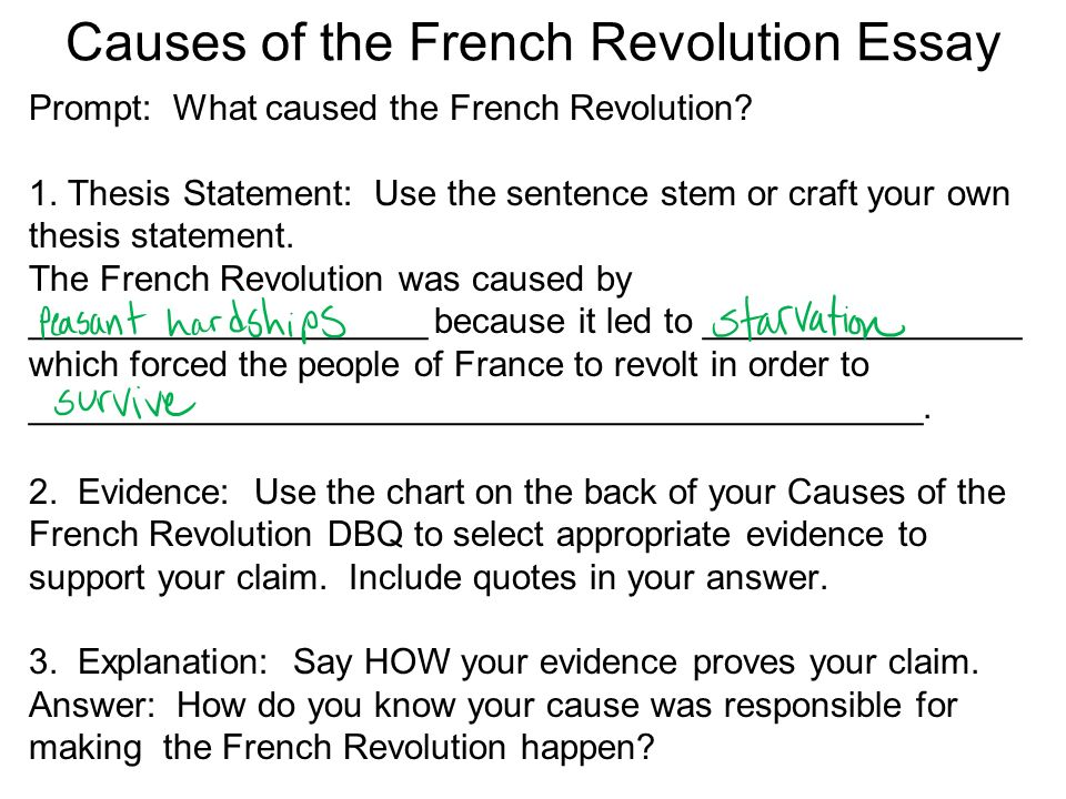 "dbq essay causes of the french Analyze the factors that promoted or discouraged the spread of literacy analysis  of fourteen documents for the dbq ""literacy in france"" essay."