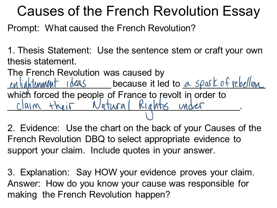 causes french revolution essay conclusion Read this history other essay and over 88,000 other research documents dbq french revolution the french revolution of 1789 had many long-range causes political.