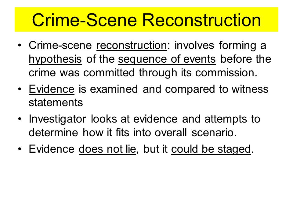 reconstructing a crime scene essay Midterm essays compared to those found in prints at crime scenes and to databases such as afis (automated fingerprint identification system) or even other such databases such as missing children registries and immigration records.
