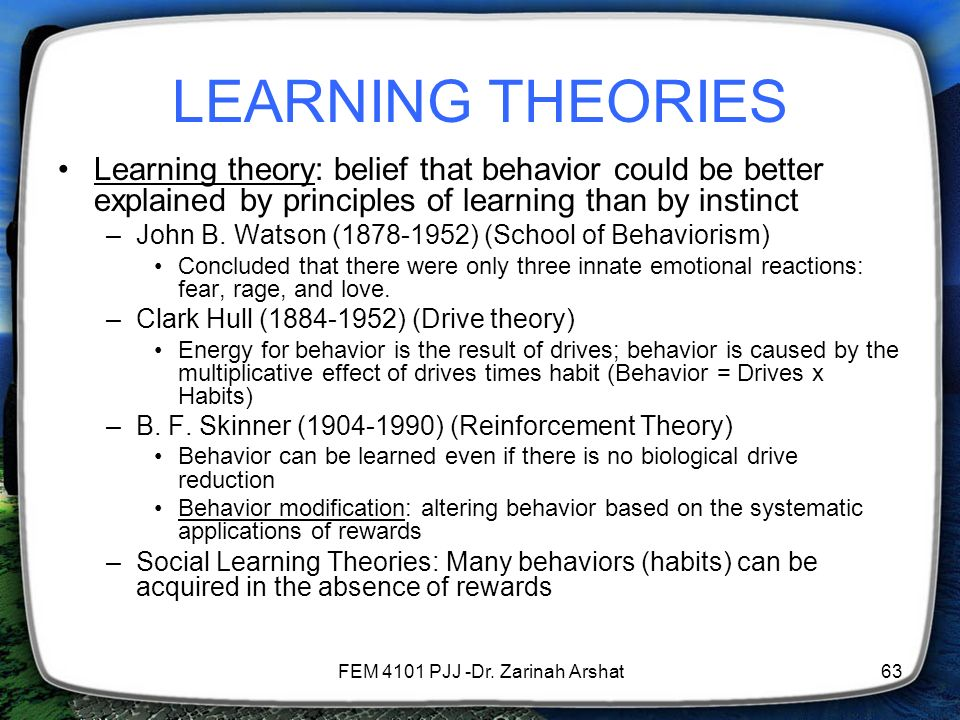 b f skinner incentive theory Respectfully john b watson is the founder of behaviorism and bf skinner is the founder of  cognitive theory and behaviorism essay  why incentive plans.
