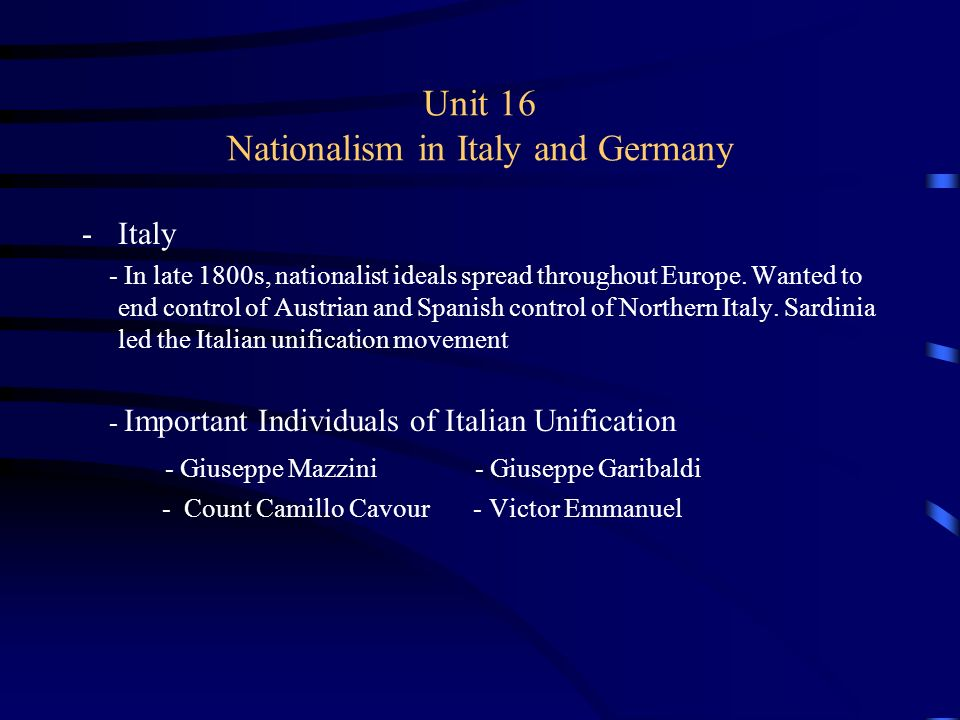a comparison of giuseppe mazzini and otto von bismarck in the italian and german unification Ralph waldo emerson's essay history italian unification - cavour, garibaldi and the unification of risorgimento italy: otto von bismarck & the wars of german unification.
