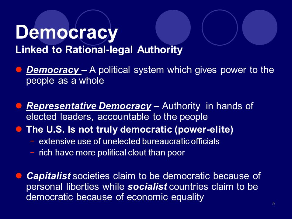 Democracy Linked to Rational-legal Authority