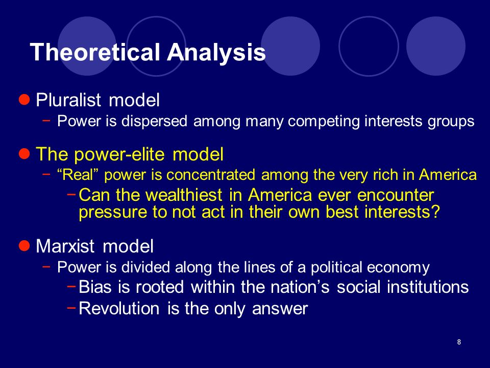 Theoretical Analysis Pluralist model The power-elite model