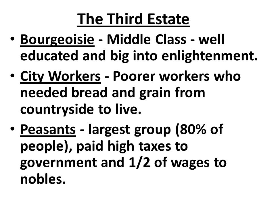 The Third Estate Bourgeoisie - Middle Class - well educated and big into enlightenment.