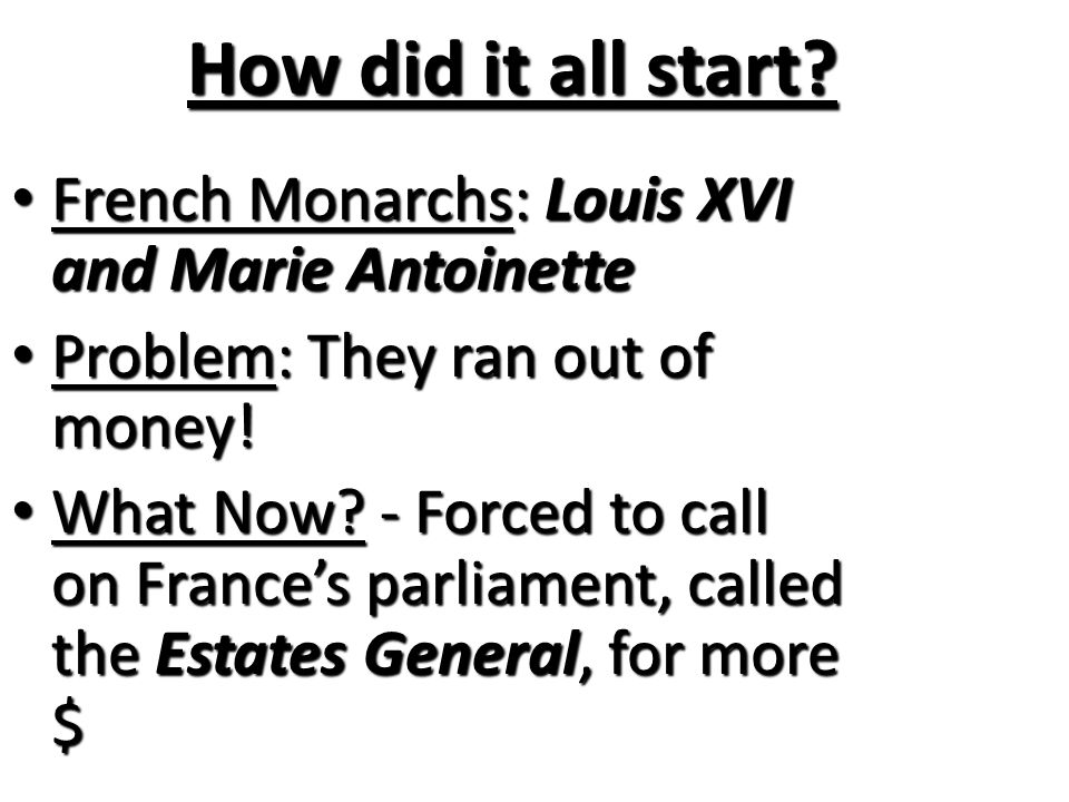 How did it all start French Monarchs: Louis XVI and Marie Antoinette
