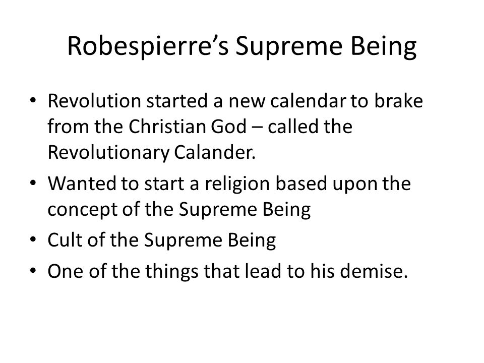 Robespierre's Supreme Being