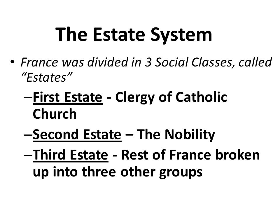 The Estate System First Estate - Clergy of Catholic Church