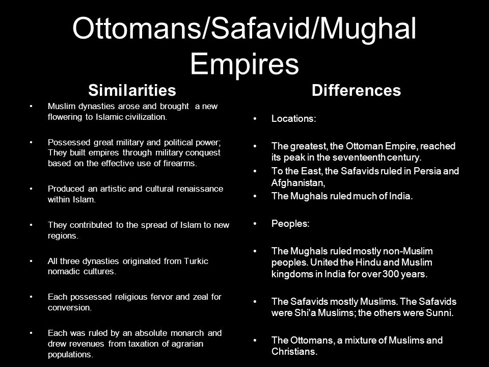 the similarities and differences between the ottomans and safavids Muslim empires webquest an internet webquest on muslim empires created by mr wardell what were the similarities and differences between the three muslim empires 2 of the ottomans, safavids.