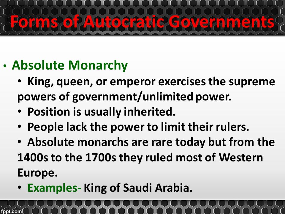 Forms of Autocratic Governments