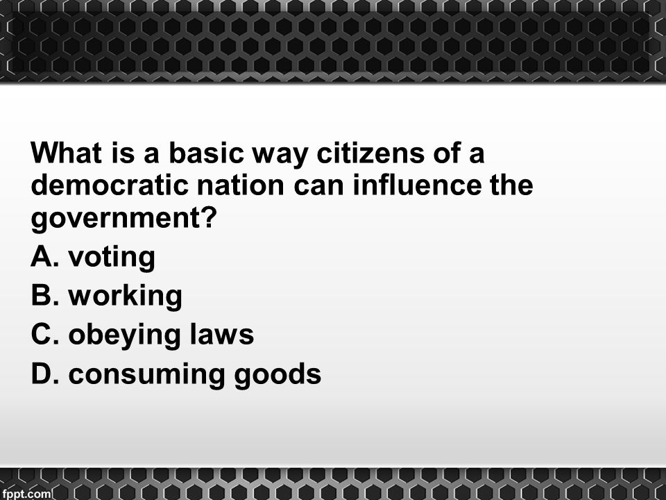 What is a basic way citizens of a democratic nation can influence the government