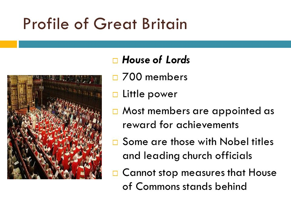 The composition and power of the house of commons and the house of lords in britain