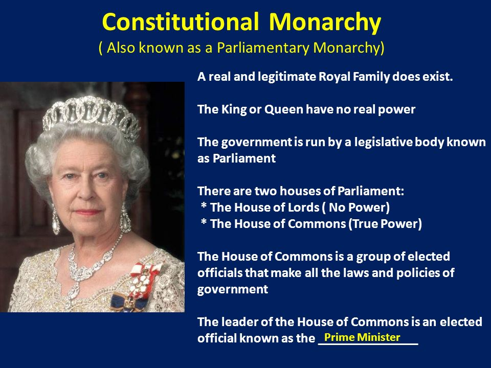 Constitutional Monarchy ( Also known as a Parliamentary Monarchy)
